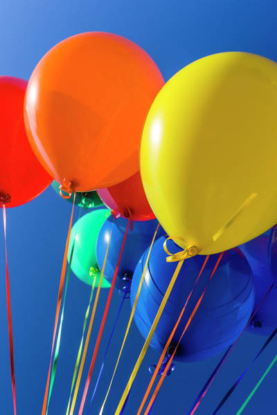 Celebration Photograph - Colorful Balloons Against Blue Sky by Stuart Dee