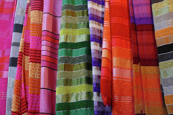 Photograph - Colorful Fabrics In The Medina Market  by Steve Estvanik