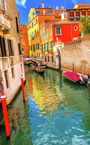 Balcony Photograph - Colorful Small Canal Bridge by William Perry