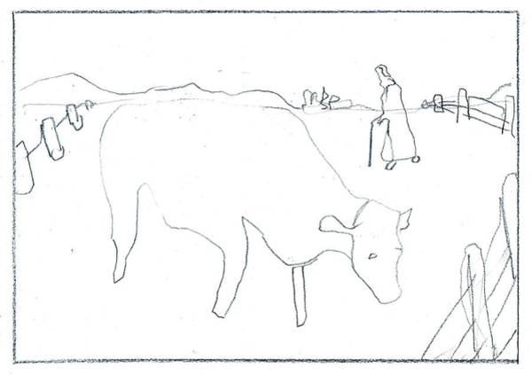 Drawing - Cow In A Field by Artist Dot