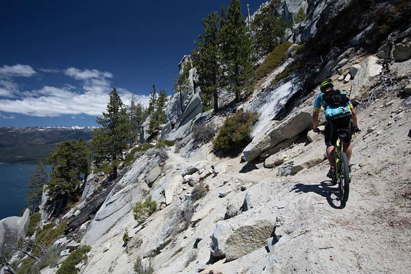 Wall Art - Photograph - Cyclist On Mountain Road, Lake Tahoe by Panoramic Images