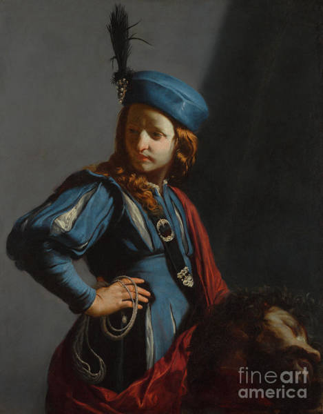 Victorious Painting - David With The Head Of Goliath by Guido Cagnacci