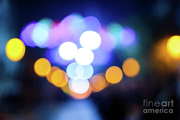 Photograph - Defocused Urban Night Background With Colorful Circles. by Joaquin Corbalan