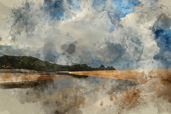 Wall Art - Photograph - Digital Watercolor Painting Of Beautiful Blue Sky Morning Landsc by Matthew Gibson