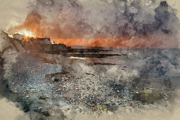 Wall Art - Photograph - Digital Watercolor Painting Of St Michael's Mount Bay Marazion L by Matthew Gibson