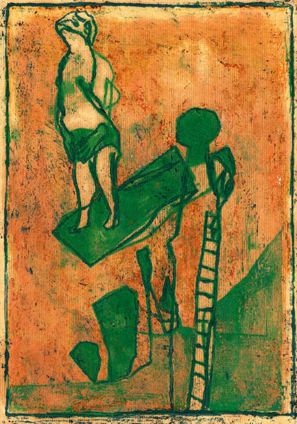 Painting - Diver On A Swimming Pool Diving Board by Artist Dot