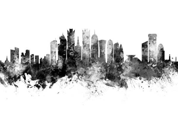 Wall Art - Digital Art - Doha Qatar Skyline by Michael Tompsett