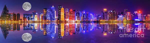 Photograph - Doha Skyline Reflection Night by Benny Marty