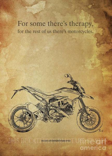 Wall Art - Drawing - Ducati Hypermotard Sp 821 Original Artwork, Motorcycle Quote by Drawspots Illustrations