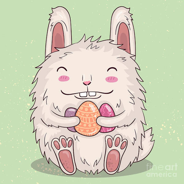 Wall Art - Digital Art - Easter Funny Bunny With Eggs. Vector by Maria Sem