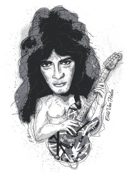 Eddie Digital Art - Eddie Van Halen by Gary Bodnar