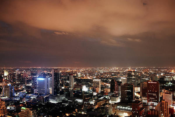 Thai Photograph - Elevated View Over City Of Bangkok At by Gary Yeowell