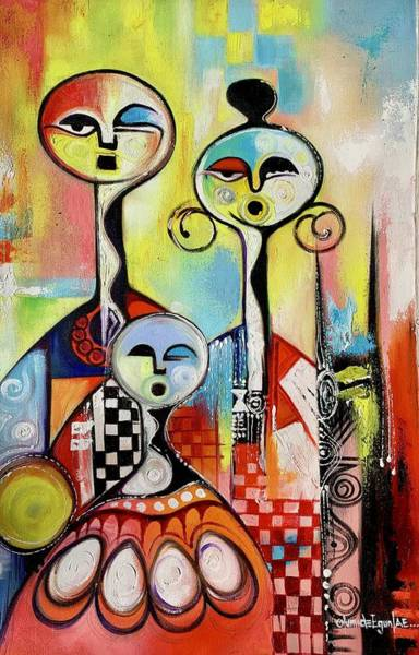 Painting - Family by Olumide Egunlae