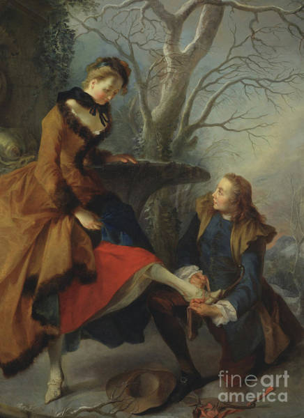 Wall Art - Painting - Fastening The Skate by Nicolas Lancret