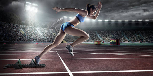 Competitive Sport Photograph - Female Athlete Sprinting by Dmytro Aksonov