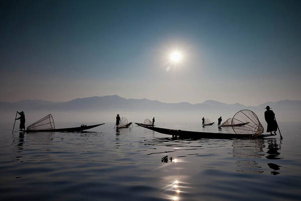 Sport Fishing Photograph - Fishermen On Inle Lake, Myanmar by Mint Images - Art Wolfe