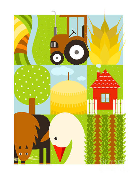 Flat Childish Rectangular Agriculture Art Print