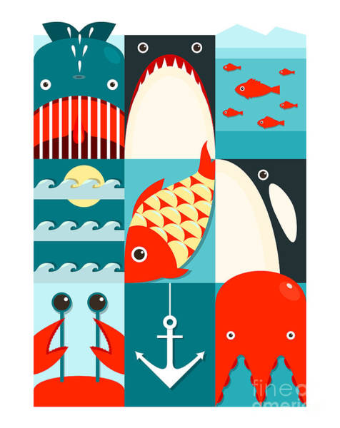 Killer Whales Wall Art - Digital Art - Flat Sea And Fish Rectangular Nautical by Popmarleo