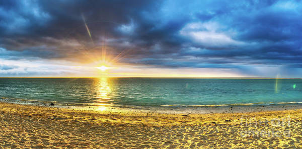 Wall Art - Photograph - Flic En Flac Beach At Sunset. Panorama by MotHaiBaPhoto Prints