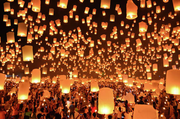 Crowd Photograph - Floating Lanterns  Yi Peng In Thailand by Nanut Bovorn