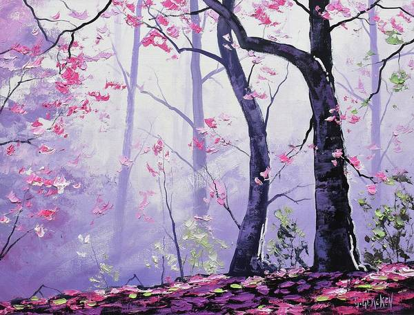 Pink Blossom Painting - Forest Light by Graham Gercken