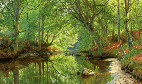 Rural Wall Art - Painting - Forest Stream by Peder Mork Monsted