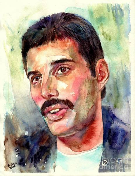 Pink Floyd Painting - Freddie Mercury Watercolor by Suzann Sines