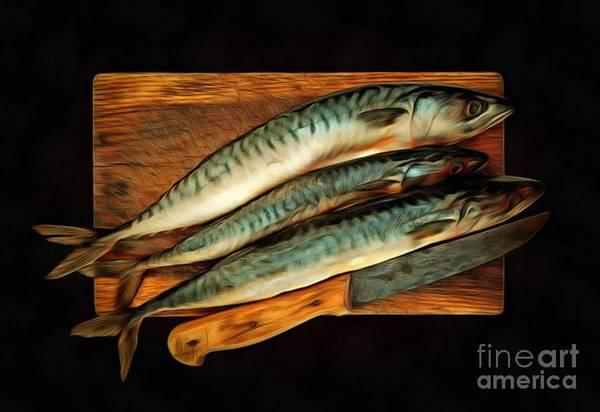 Wall Art - Mixed Media - Fresh Mackerels by Michal Boubin