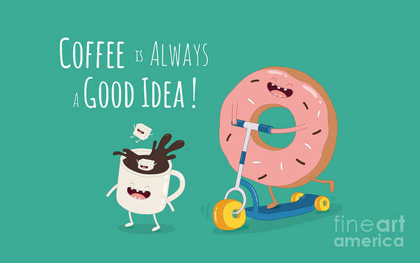 Wall Art - Digital Art - Funny Coffee With Donut On The Kick by Serbinka
