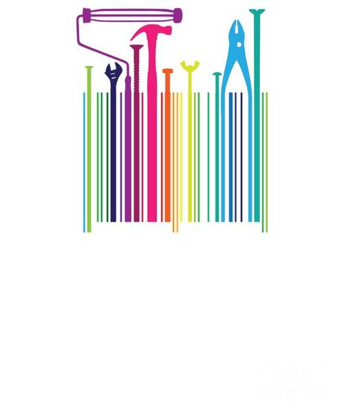 Barcode Digital Art - Funny Worker Tradesman Barcode Tool by Phoxy Design