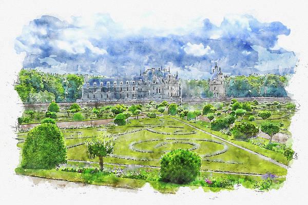 Chs Digital Art - Garden #watercolor #sketch #garden #architecture by TintoDesigns