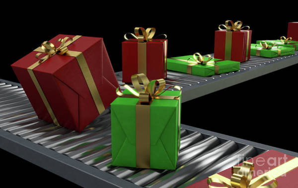 Manufacture Digital Art - Gift Boxes On Conveyor by Allan Swart