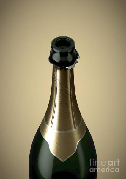 Wall Art - Digital Art - Gold Champagne Bottle Open Neck by Allan Swart