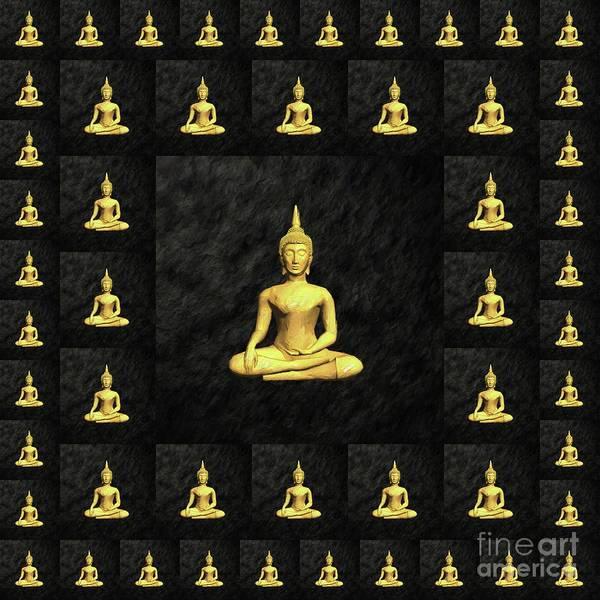 Buddhist Temple Wall Art - Painting - Golden Buddha by Pierre Blanchard