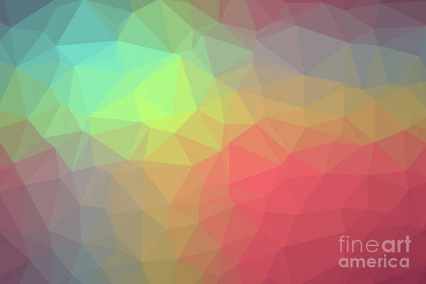 Gradient Background With Mosaic Shape Of Triangular And Square C Art Print