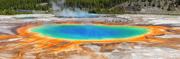 Travel Destinations Photograph - Grand Prismatic Spring In Yellowstone by Tom Nevesely