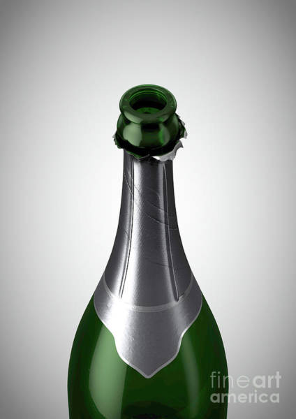 Wall Art - Digital Art - Green Champagne Bottle Open Neck by Allan Swart