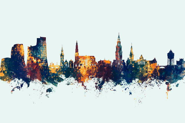 Holland Digital Art - Groningen The Netherlands Skyline by Michael Tompsett