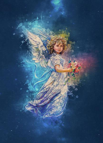 Angelic Digital Art - Guardian Angel by Ian Mitchell