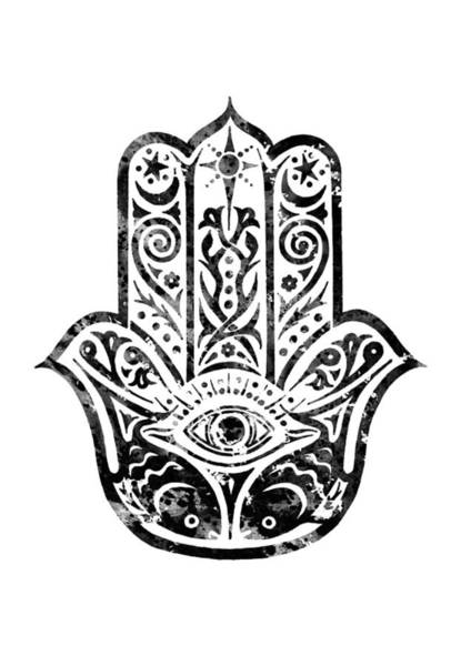 Amulet Digital Art - Hamsa Hand-black by Erzebet S