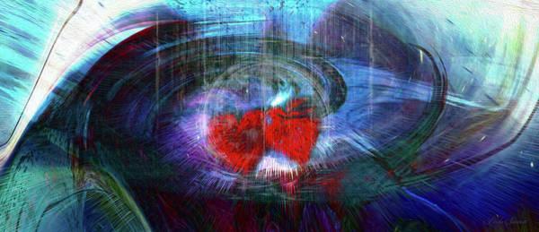 Wall Art - Digital Art - 2 Hearts As One by Linda Sannuti