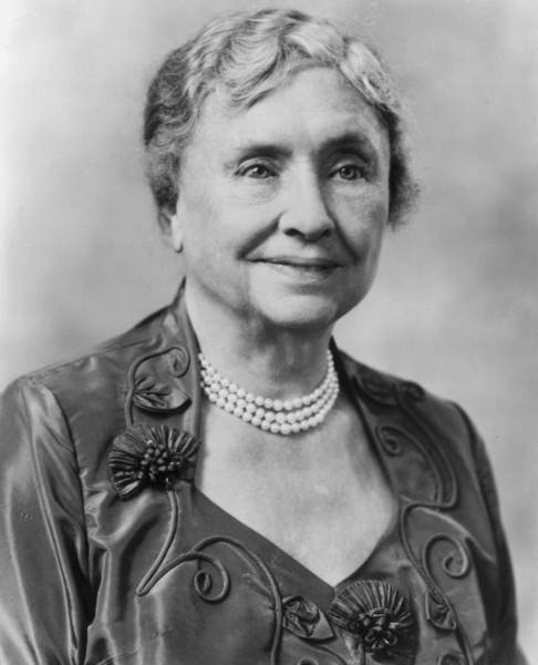 Neckline Photograph - Helen Keller by Hulton Archive