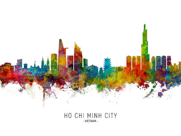Vietnam Wall Art - Digital Art - Ho Chi Minh City Vietnam Skyline by Michael Tompsett