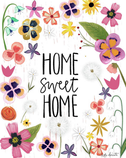 Wall Art - Mixed Media - Home Sweet Home by Katie Doucette