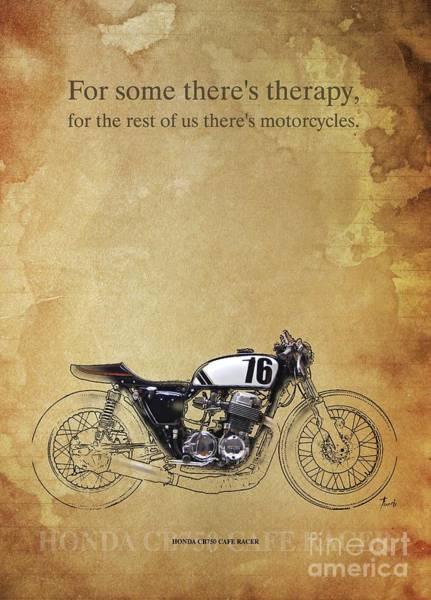 Wall Art - Drawing - Honda Cb750 Cafe Racer Original Artwork, Motorcycle Quote by Drawspots Illustrations