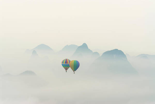 Freedom Photograph - Hot Air Balloon Ride At Dawn Over Karst by Alex Linghorn