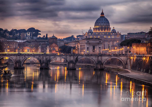 Wall Art - Photograph - Illuminated Bridge In Rome, Italy by Sophie Mcaulay