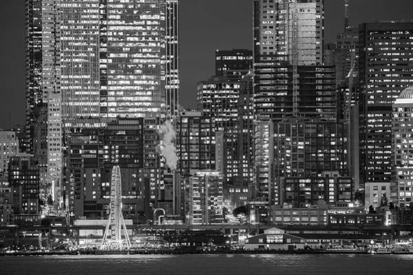Wall Art - Photograph - Illuminated City At Night, Seattle by Panoramic Images