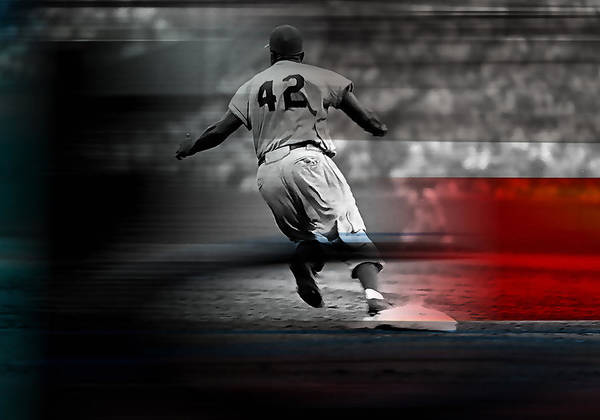 Jackie Robinson Wall Art - Mixed Media - Jackie Robinson Number 42 by Marvin Blaine