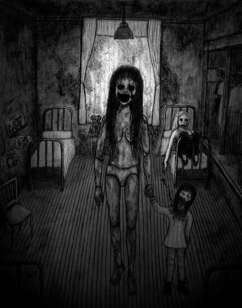 Drawing - Jessica And Her Broken Doll - Artwork by Ryan Nieves